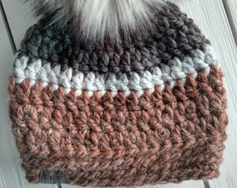 READY TO SHIP - Kids - 3-6 years - Hat - Beanie with faux fur pompom - gray charcoal brown - alpaca wool acrylic - crochet - handmade gift