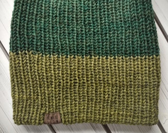 READY TO SHIP - Adult unisex - Hat - Slouchy Beanie - green two tone - wool - handmade machine knit - double thick brim