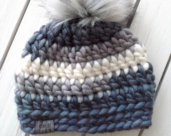 READY TO SHIP - Baby - 3-6 months - Hat - Beanie w/ faux fur pompom - gray stripes - wool blend - crochet - handmade - baby shower gift