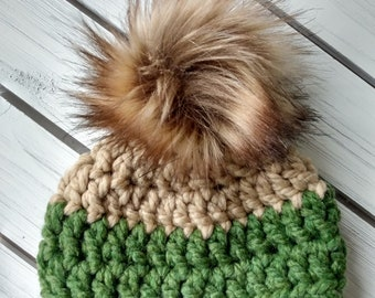 READY TO SHIP - Baby - 0-3 months Hat - Beanie with faux fur pompom - tan green - fall winter - crochet - handmade baby shower gift