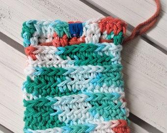 Washable Cotton Soap Pouch - Soap Saver Bag - cotton - reusable - zero waste - exfoliating - eco-friendly - coral turquoise white - gift