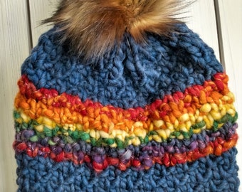 READY TO SHIP - Adult - beanie - Hat w/ big faux fur removable pom pom - blue - rainbow - hand knit - thick wool - bulky