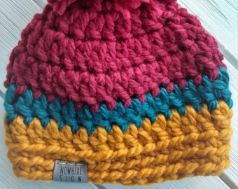 READY TO SHIP - Baby - 3-6 months - Hat - Beanie with pompom - maroon teal mustard yellow - crochet - baby shower gift - handmade