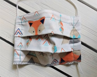 READY TO SHIP - Kids - 5 to 9 years - Pleated Cotton Cloth Face Mask - Adjustable - Reusable Washable Face Mask - Flat Elastic - Fox Teepee