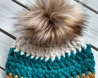 READY TO SHIP - Baby - 3-6months - Hat - Beanie w/ faux fur pompom - white - teal green - mustard yellow - crochet - handmade - baby shower