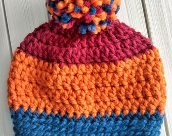 READY TO SHIP - Adult - Hat - Beanie with yarn pom pom - maroon orange navy blue - wool acrylic blend - handmade gift - crochet