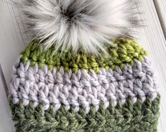 READY TO SHIP - Baby - 3-6 months - Hat - Beanie with faux fur pompom - green gray - crochet - alpaca wool - baby shower gift - handmade