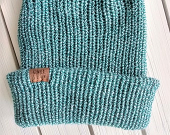 READY TO SHIP - Adult unisex - Hat - Slouchy Beanie - teal green marled - premium acrylic - handmade machine knit - double thick brim