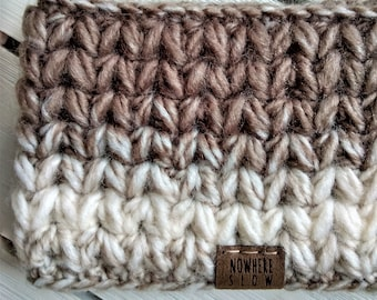READY TO SHIP - Adult - Thick Headband - Ear Warmer - Short Cowl - neutrals - cream white brown - wool acrylic blend - handmade gift - boho