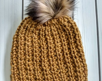 READY TO SHIP - Adult - Ribbed beanie - Hat w/ big faux fur removable pom pom - mustard - yellow - butterscotch- hand knit