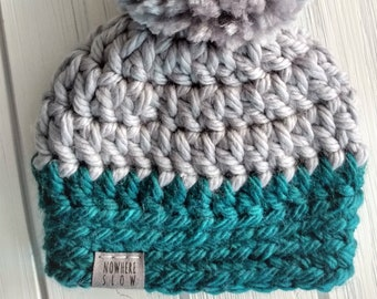 READY TO SHIP - Baby - 0-3 months - Hat - Beanie with yarn pompom - gray teal - premium acrylic - crochet - handmade - baby shower gift