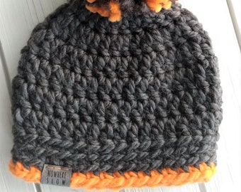 READY TO SHIP - Baby - 6-12 months - Hat - Beanie with yarn pompom - charcoal gray bright orange - crochet - handmade - baby shower gift