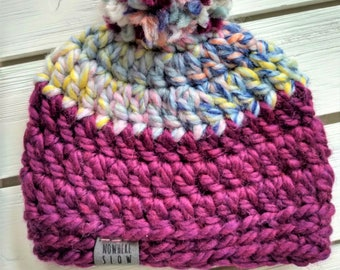 READY TO SHIP - Baby - 3-6 months - Hat - Beanie with pompom - pastel rainbow purple magenta - crochet - baby shower gift - handmade