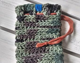 Washable Cotton Soap Pouch - Soap Saver Bag - cotton - reusable - zero waste - exfoliating - eco-friendly - green black camoflauge - gift