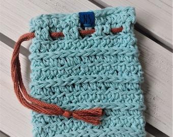 Washable Cotton Soap Pouch - Soap Saver Bag - recycled cotton - reusable - zero waste - exfoliating - eco-friendly - aqua blue - gift