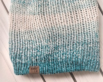 READY TO SHIP - Adult unisex - Hat - Slouchy Beanie - teal blue ombre - wool acrylic blend - handmade machine knit - double thick brim
