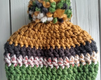 READY TO SHIP - Kids - 3-6 years - Hat - Beanie with yarn pompom - mustard gray green hudson bay - acrylic wool - crochet - handmade gift