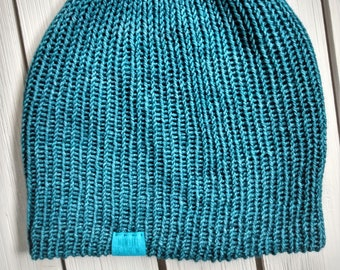 READY TO SHIP - Adult unisex - Hat - Fitted Skull Cap Beanie - teal blue - malabrigo wool - handmade machine knit - double thick brim