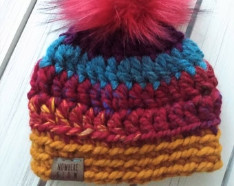 READY TO SHIP - Baby - 0-3 months - Hat - Beanie w/ faux fur pompom - red yellow rainbow - alpaca wool blend - handmade - baby shower gift