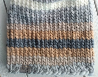 READY TO SHIP - Adult - Hat - Beanie - gray brown cream stripes - wool acrylic blend - knit - handmade gift