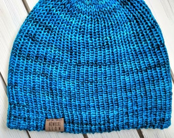 READY TO SHIP - Adult unisex - Hat - Fitted Skull Cap Beanie - teal blue - wool blend - handmade machine knit - double thick brim