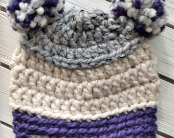 READY TO SHIP - Baby - 6-12 months - Hat - Beanie with double yarn pompoms - gray white purple - bear hat - crochet - handmade - baby shower