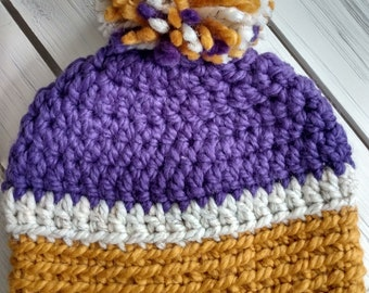 READY TO SHIP - Teen/ Small adult - Hat - Beanie with pompom - purple white mustard yellow - Vikings - Lakers - crochet - handmade gift