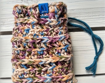 Washable Cotton Soap Pouch - Soap Saver Bag - cotton - reusable - zero waste - exfoliating - eco-friendly - tan and multi-colored - gift