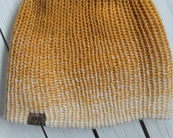 READY TO SHIP - Adult unisex - Hat - Slouchy Beanie - mustard yellow ombre - wool acrylic blend - handmade machine knit - double thick brim