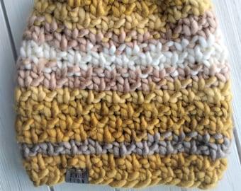 READY TO SHIP - Adult - Hat - Beanie - yellow mustard cream striped - chunky knit - handmade - wool acrylic - slouchy