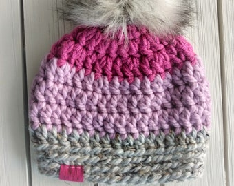 READY TO SHIP - Toddler - 12-24 months - Hat - Beanie with faux fur pompom - magenta pink gray - wool acrylic - crochet - handmade