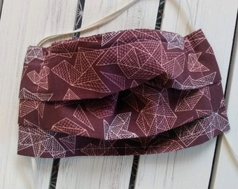 READY TO SHIP - Cotton Cloth Face Mask - Adjustable Face Mask - Reusable Face Mask - Washable Mask - Flat Elastic - mauve purple pink