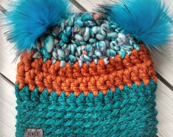 READY TO SHIP - Baby - 6-12 months - Hat - Beanie with double fur pom poms - multi blue orange and teal - crochet - handmade - baby shower