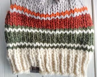 READY TO SHIP - Adult - Hat - Beanie - cream gray rust green striped - chunky knit - handmade - wool acrylic - skull cap