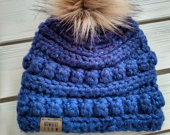 READY TO SHIP - Baby - 0-3 months - Hat - Beanie with faux fur pompom - navy with tinsel - blue - baby shower gift - sparkly - handmade gift
