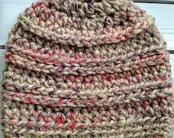 READY TO SHIP - Adult - Hat - Beanie - jam cookie - tan pink purple - wool acrylic blend - handmade gift - crochet
