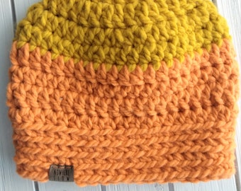 READY TO SHIP - Adult - Hat - Beanie - bright yellow and orange - wool acrylic blend - handmade gift - crochet