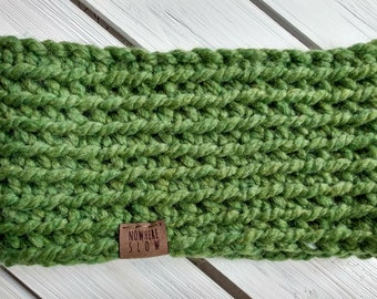 READY TO SHIP - Adult - Thick Headband - Ear Warmer - Short Cowl - green - neutral - earth tone - wool acrylic - handmade - crochet - boho