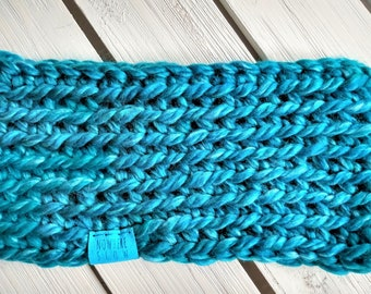 READY TO SHIP - Adult - Thick Headband - Ear Warmer - Short Cowl - bright blue - wool acrylic blend - crochet - handmade gift - boho
