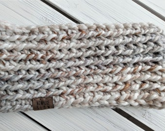 READY TO SHIP - Adult - Thick Headband - Ear Warmer - Short Cowl - neutrals - white cream brown gray - wool acrylic blend - handmade - boho
