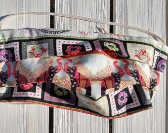 READY TO SHIP - Cotton Cloth Face Mask - Adjustable Face Mask - Reusable Face Mask - Washable Mask - Flat Elastic - elephant flower print