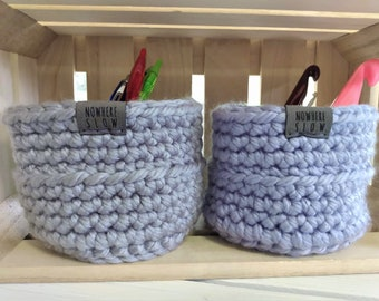 "READY TO SHIP - Two 3.5"" Baskets - Crochet Baskets - round storage organizer - home decor - waldorf/montessori baskets - purple silver gray"