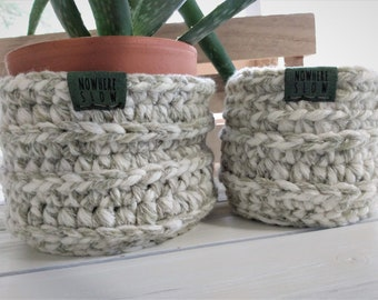 "READY TO SHIP - Two Nesting Baskets - 4"" Crochet Baskets - round storage organizer - plant home decor - waldorf/montessori - white olive"