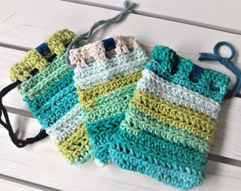 Washable Cotton Soap Pouch - Soap Saver Bag - cotton - reusable - zero waste - exfoliating - eco-friendly - green blue white striped - gift