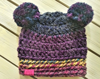 READY TO SHIP - Baby - 6-12 months - Hat - Beanie with yarn double pompoms - blue purple pink - bear hat - crochet - handmade - baby shower
