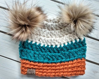 READY TO SHIP - Baby - 6-12 months - Hat - Beanie with double faux fur pom poms - white teal orange - crochet - handmade - baby shower gift