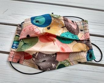 READY TO SHIP - Pleated Cotton Cloth Face Mask - Adjustable Face Mask - Reusable Face Mask - Washable Mask - Flat Elastic - umbrella print