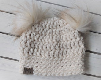 READY TO SHIP - Baby - 6-12 months - Hat - Beanie with double fur pom poms - white cream with gold tinsel - crochet - handmade - baby shower