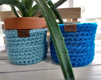 "READY TO SHIP - Two 3.5"" & 4"" Baskets - Crochet Baskets - round storage organizer - home decor - plant waldorf/montessori baskets - blue"