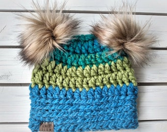 READY TO SHIP - Baby - 6-12 months - Hat - Beanie with double faux fur pom poms - green blue - crochet - handmade - baby shower gift